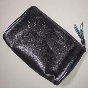 Silver glittery makeup bag